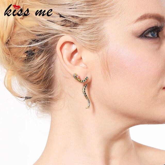 KISS ME Chic Blue Crystal Snake Dangle Earrings 2018 Latest Party Drop Earrings for Women Fashion Jewelry