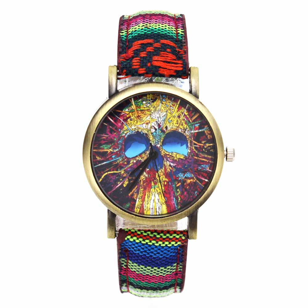 Fashion Head Head Devil Flower Skeleton Dial Watches Casual Men Women - Әйелдер сағаттары - фото 5