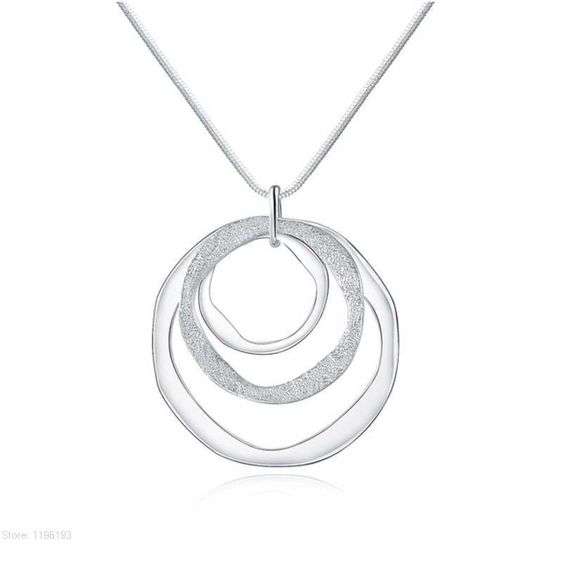 Silver Three Circle Necklaces for Girl Interlocking Geometric Classic Round Pendant Choker Necklace Minimalist Jewelry