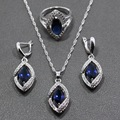 Blue Created Sapphire White Crystal 925 Sterling Silver Women Jewelry Sets Earrings/Pendant/Necklace/Ring Free Gift Box 202