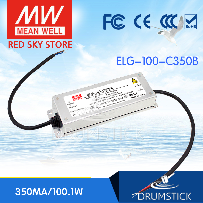 100% Original MEAN WELL ELG-100-C350B 297V 350mA meanwell ELG-100 100.1W Single Output LED Driver Power Supply B type [Real6]