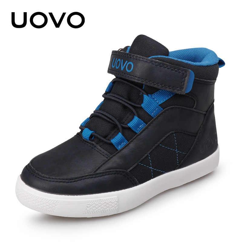 UOVO 2019 ใหม่ฤดูใบไม้ร่วงฤดูหนาวเด็กเดินรองเท้าแฟชั่นชายรองเท้าลำลองรองเท้าเด็กอบอุ่นสบายรองเท้าผ้าใบขนาด 28 # - 37 #