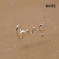 Promotions Letter Necklace LOVE Natural Freshwater Pearl 925 Silver Necklace for Women's Fashion Gifts