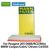 MANNFILTER Air Filter C36003 For Peugeot 207 3008 RCZ Mini Cooper Citroen C4 DS4 C4L
