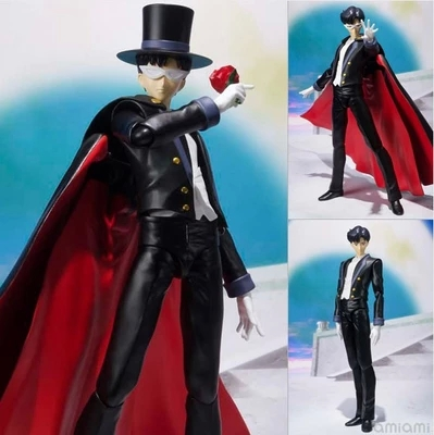 SHFiguarts Sailor Moon Tuxedo Mask Chiba Mamoru 20th PVC Action Figure Collectible Model Toy 16cm shfiguarts naruto uchiha itachi moloing and movable pvc action figure collectible model toy 16cm