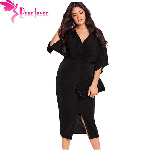 93fcc4bcba1 Dear Lover Autumn Dresses Big Size XXXL Club Factory Black Kimono Sleeve  Knotted Pleated Front Plus Dress Vestidos Mujer LC61307