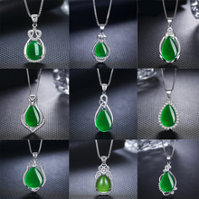 2018 New Fashion Red Green Stone Pendant Necklace Heart Crystal Drop Design Pendant For Women Prom Party Silver Jewelry