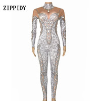Sparkly Big Stones Jumpsuit One piece Costume Nightclub Female Singer Stage Wear Dance WEAR Prom Party Crystals Stretch Outfit