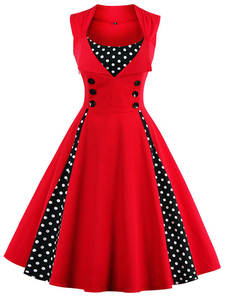 Dress 50s Tunic Swing-Pin-Up Women Robe Rockabilly-Dot 60s Elegant Retro Vintage Casual