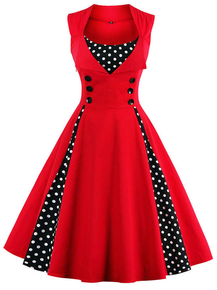 Dress 50s Tunic Swing-Pin-Up Women Robe Vestidos Rockabilly-Dot Elegant Retro Vintage