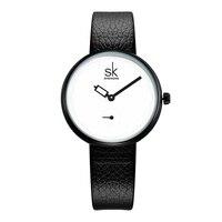 SK Элитный бренд 2017 Женские часы Удивительные кожаный ремешок для часов наручные часы для женские кварцевые часы