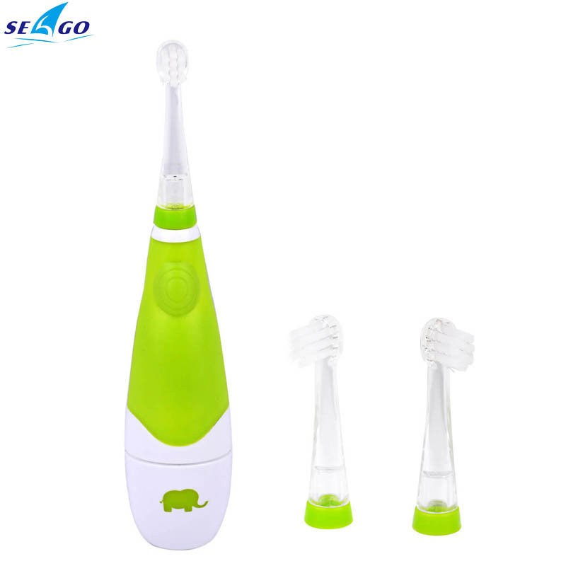 Seago Battery Operated Waterproof Sonic Electric Toothbrush With LED Light and 2Pcs Replaceable Brush Heads for Baby Children
