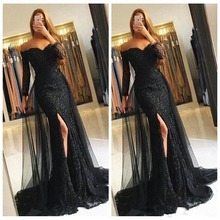 Sexy Lace Appliques Mermaid Prom dresses Long Sleeve tulle middle eastern party  Gown