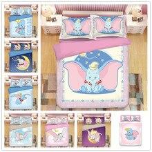 Disney Cartoon Dumbo Bedding Sets Boy/Girls Baby Single Twin king queen  Duvet Cover Set Pillowcases quilt blanket cover