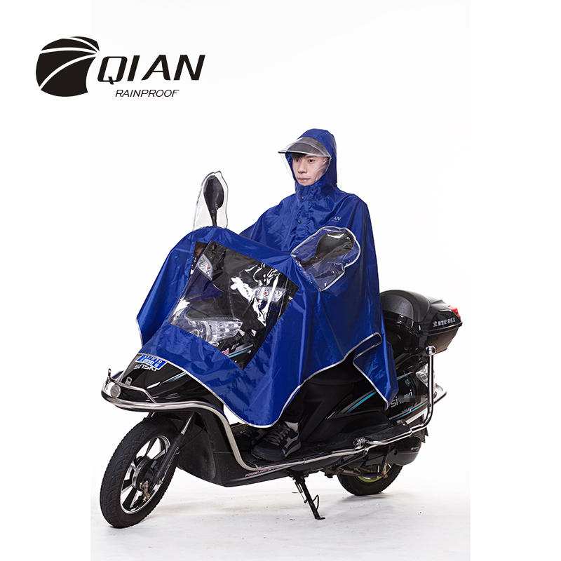 QIAN RAINPROOF Professional Adult Motorcycle Electric Bicycle Raincoat Transparent Big Brim Visible Window Safety Rainwear