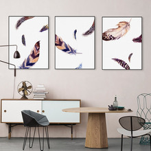 Watercolor Vintage Feather Poster Photos Big Print Wall Art Picture Modern Nordic Living Room