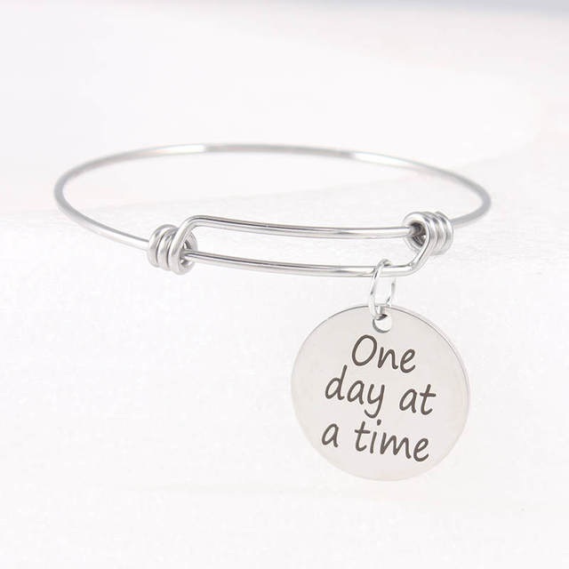 Stainless Steel Positive Inspirational Bracelet One Day At A Time