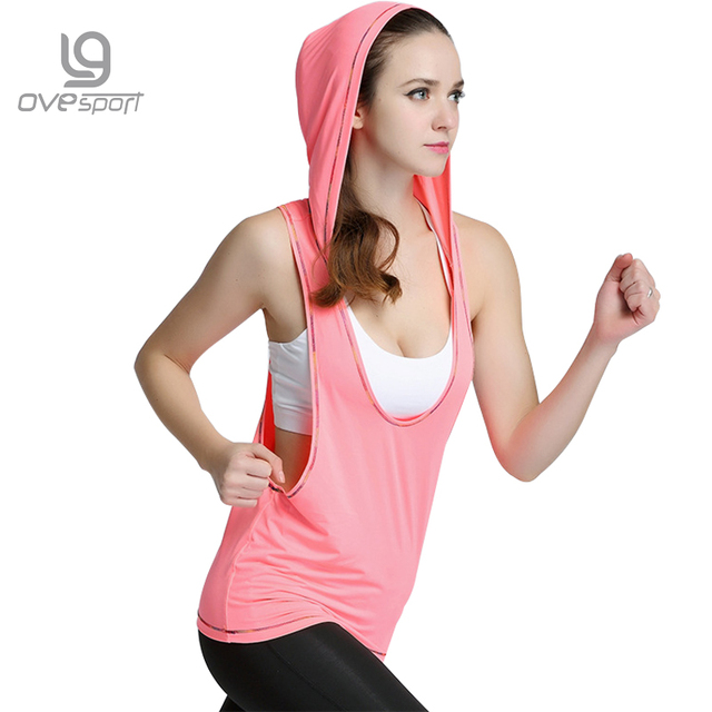 0d8791c3 2017 Summer Plus Size Sleeveless Fitness Tops For Women Quick Dry Yoga  Shirts Loose Sport Gym Clothing Female Gym Hooded T Shirt