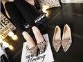 2015 high quality women brand new runway fashion elegant princess slip on lace rhinestone crystal clear peep toe ballet flats