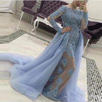 Evening Dresses Removable Tail Custom Tulle vestido longo Dusty Blue Evening Gowns Long Sleeves Beaded Appliques Formal Dress