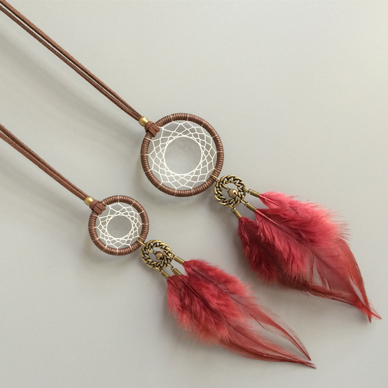 Vintage Leather Chain Red Feather Dream Catcher Tassels Sweater Necklace