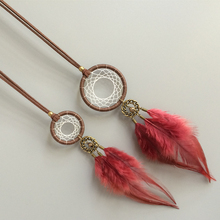 Hand for vintage feather tassel long design sweater necklace