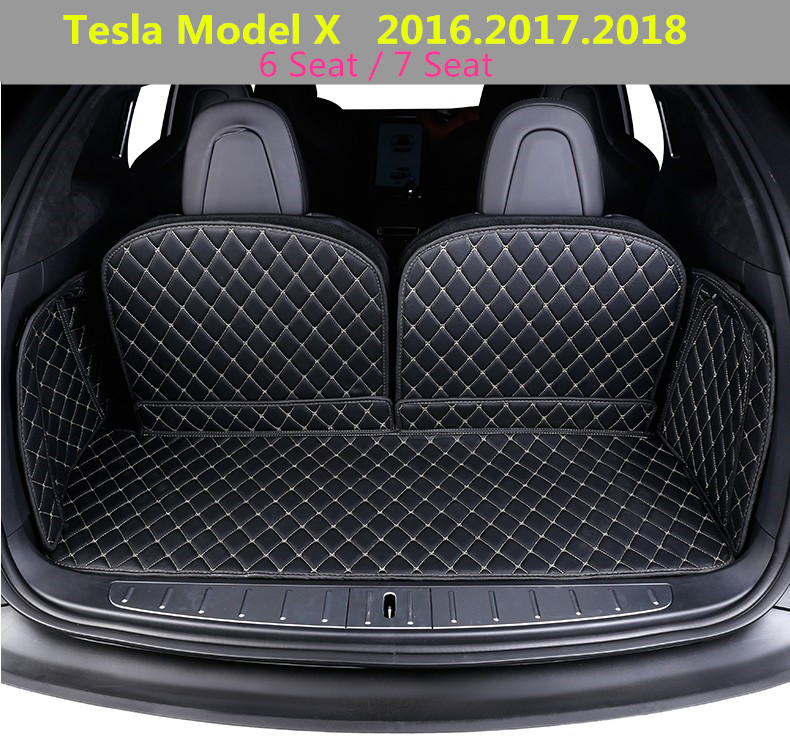 For Tesla Model X 2016.2017.2018 Full Rear Trunk Tray Liner Cargo Mat Floor Protector foot pad mats High Quality Leather