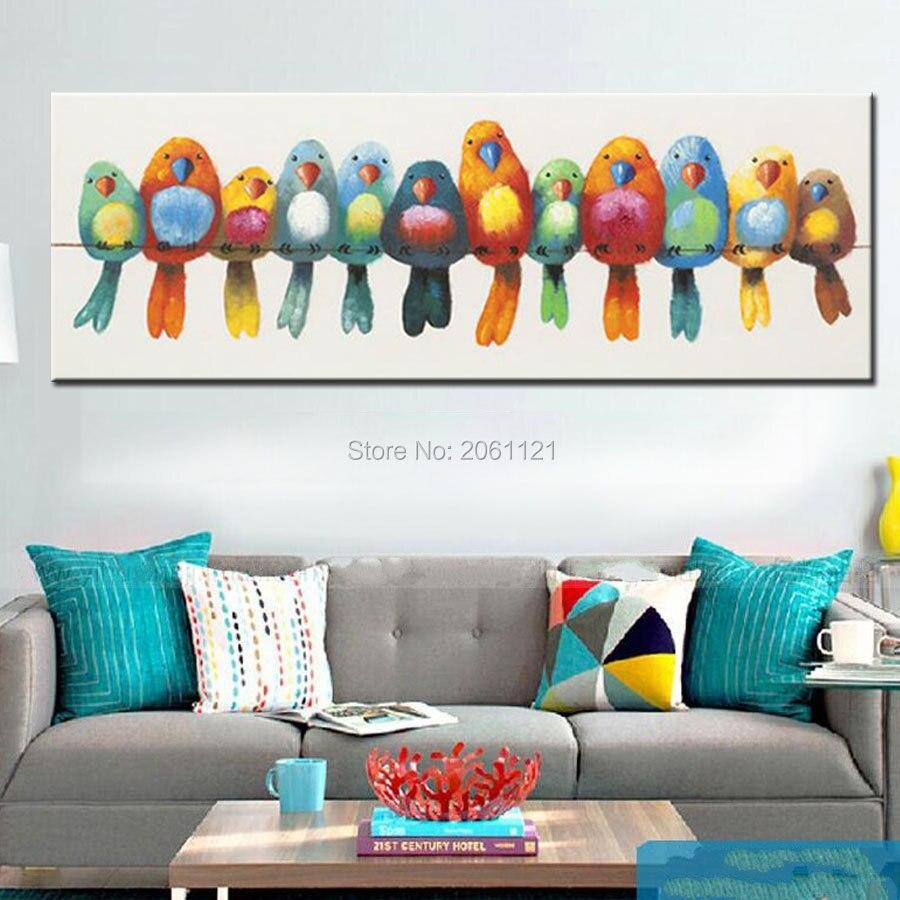 Grappige handgeschilderde canvas olieverf kleurrijke vogels canvas art leuke mooie vogel foto abstracte woninginrichting muurschildering