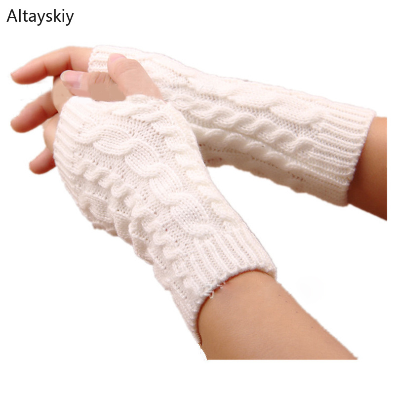 Arm Warmers Women Solid Twist Knitted Short Winter Warm Womens Sleeve Warmer All-match Kawaii Trendy Korean Style Simple Leisure