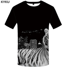 KYKU Tiger T shirt City T-shirt Animal Clothing Clothes Plus Size Tshirt Men Rock Male Punk XS-8XL