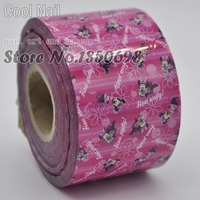 120 Meter Large Roll Nail Art Designed Glue Transfer Foil Sticker Hot Pink Base Cute Mouse