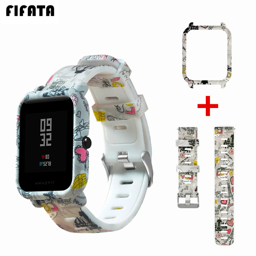 FIFATA Strap For Amazfit Bip Watch Band For Xiaomi Huami Amazfit Bip Bit Youth Lite Case Cover + Silicone Bracelet Accessories