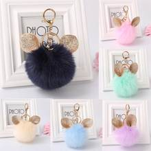 Bling-world Ear Rabbit Fur Ball Fox Keychain Bag Plush Car Key Ring Car Key Pendant 8cm chaveiro at30(China)
