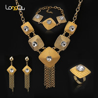 Luxury Dubai New Big Fringe Pendant Necklace Ring Bangle Jewelry Set Women Square Gold Color Africa