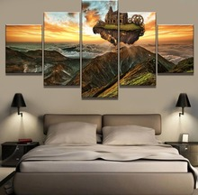 5 Piece HD Print Painting Castle Moving In The Sky Cuadros Landscape Canvas Wall Art Home Decor For Living Room Picture
