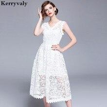 Elegant Women Summer White Lace Dress Robe Femme Ete 2018 Sleeveless Midi  Beach Party Dress Strand 5dff53991b35