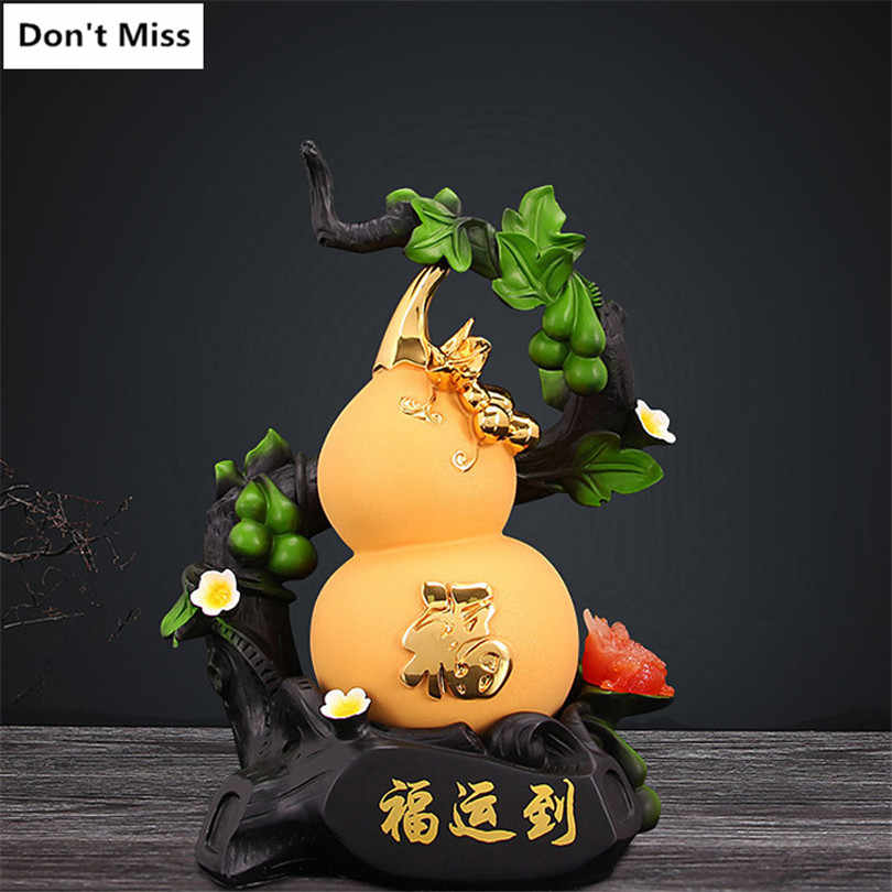 Mascot Figurines Gourd Statue Home Decoration Accessories Feng Shui Ornaments Sculpture Miniature Figurines Mascot China Craft