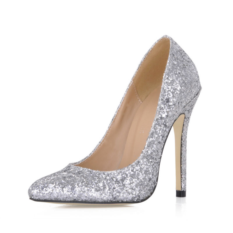 ФОТО 2016 Autumn Silver Glitter Sexy Wedding Bridal Party Women Shoes Pointed Toe Stiletto Heel Pumps Big Sizes Zapatos Mujer 119-f