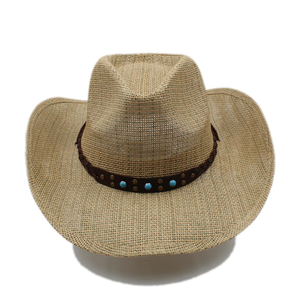 Luckylianji Bohemia estilo banda de cuero correa de barbilla ajustable vaquero  occidental verano paja Sol ranchero casquillo casual Panamá Jazz sombrero  en ... 84b889bc970