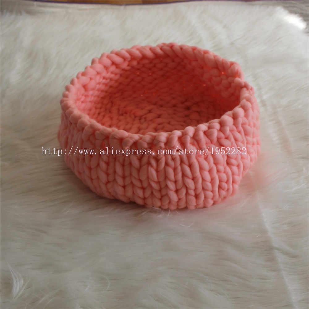 Novo Criativo Chunky Malha Ninho Pod Cocoon Fotografia Prop Handmade Tecido Cesta Bebê Recém-nascido Infantil Caixa De Barco