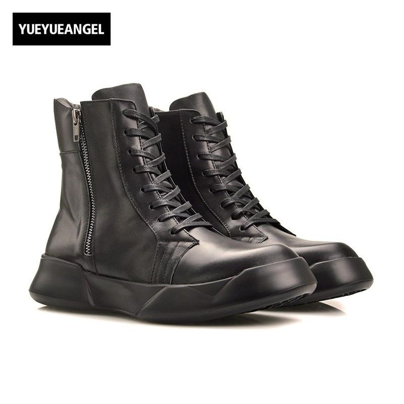 купить European Winter New Fashion Genuine Leather Mens Matin Boots Motorcycle Biker Male Casual Shoes Creeper Mid Heel Zipper Scarpe дешево