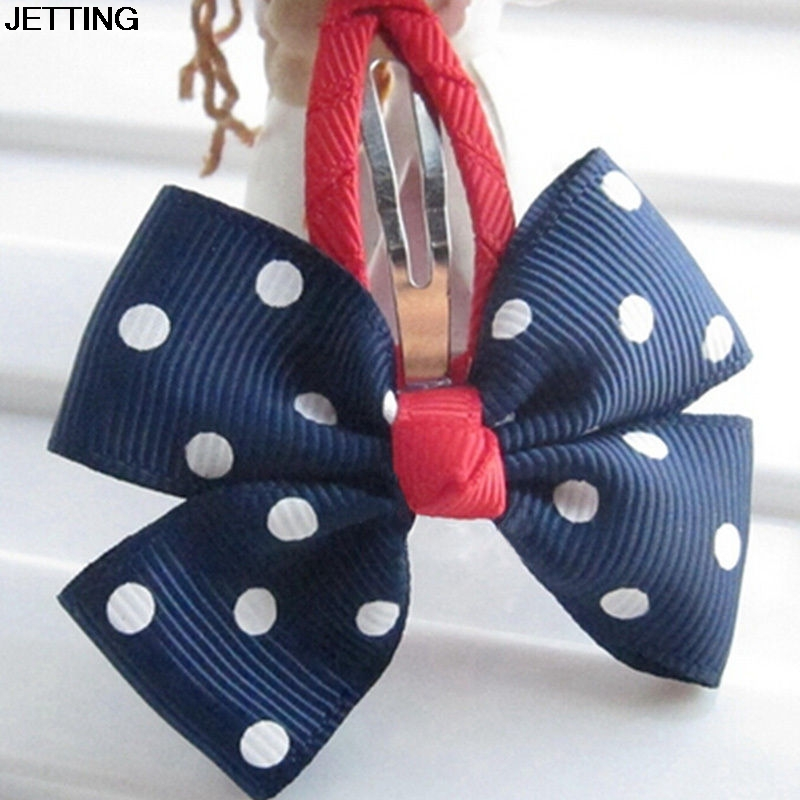 1pcs Kids Girls Hair Clips Ribbon Bow Kids Bowknot Hairpins Hair Accessories lovely Dot Print Hairclip 2 Colors