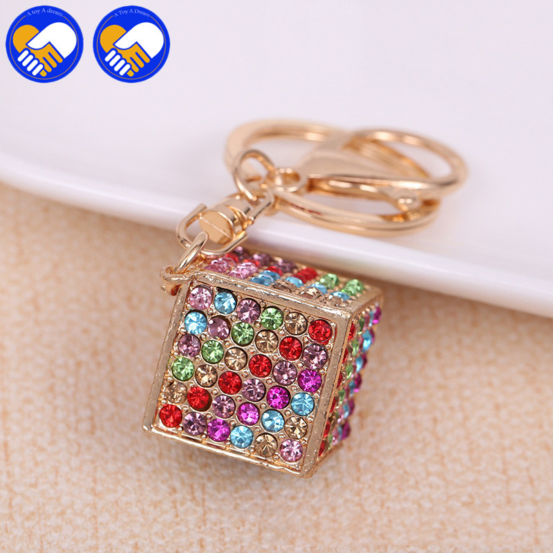 New Fashion Romantic Colorful Magic Cube with Flash diamond Keychain & Pendants, high quality Keychain Cubes Model Action Figure
