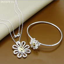 Hot Selling 925 Sterling Silver Necklaces Bracelets Silver Women Dichroic Flower Necklace Bracelet Free Shipping цена 2017
