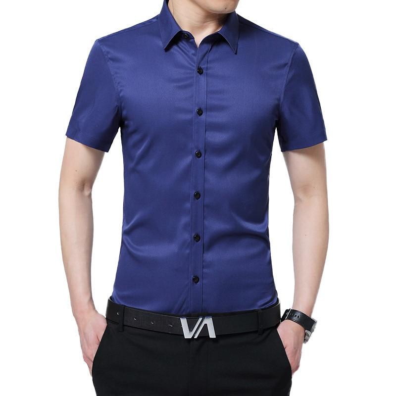 Bleuziel brand 2017 Summer Silk Shirt Men Tuxedo Shirt Blue Solid Color Short Sleeve turn-down slim fit Wedding Shirt for Men