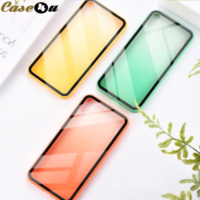 <font><b>Changing</b></font> Gradient <font><b>Color</b></font> Phone <font><b>Cases</b></font> for <font><b>iPhone</b></font> 6 6s 7 <font><b>8</b></font> <font><b>Plus</b></font> 10 XS Max XR X 8Plus 7Plus Soft TPU Edge Hard Tempered Glass Cover image