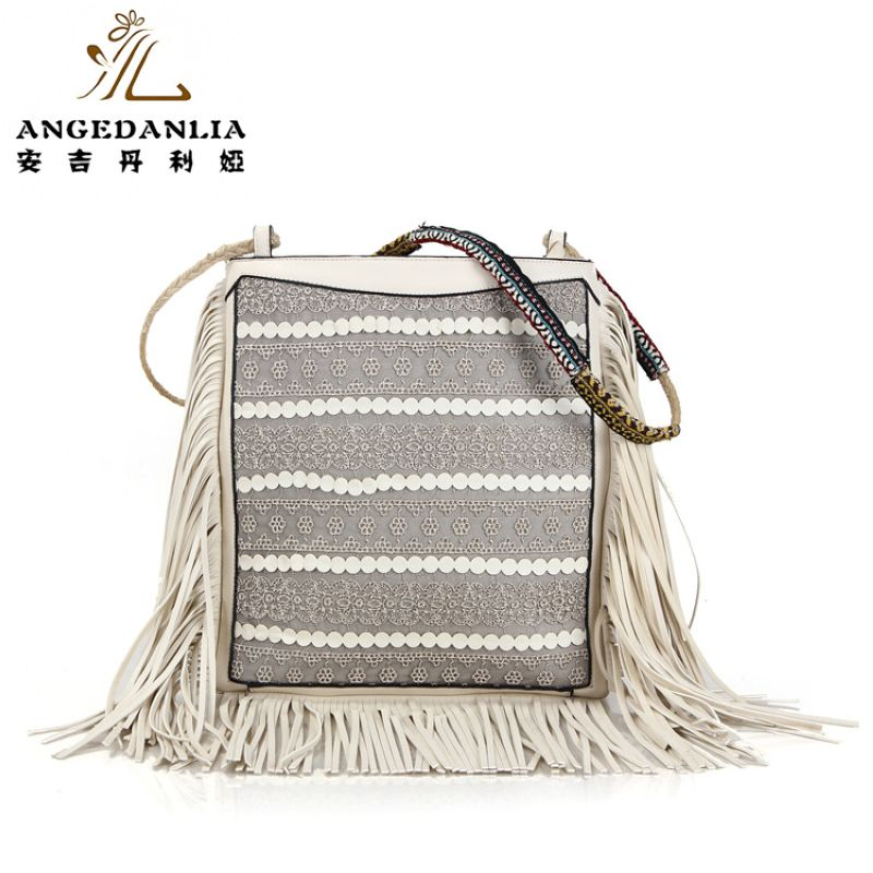 Tassle Boho Women's Striped White PU Leather Handbag Bohemian shoulder bag Women large tassels national folk-custom ethnic bags free shipping vintage hmong tribal ethnic thai indian boho shoulder bag message bag pu leather handmade embroidery tapestry 1018