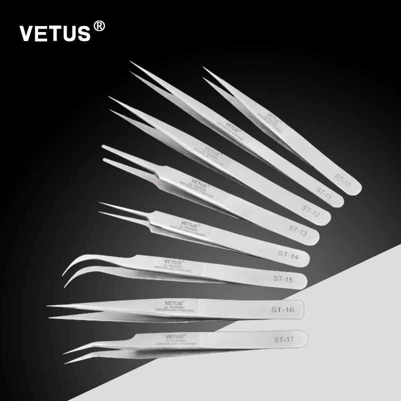 VETUS eyelash extension eyelash tweezers for eyelash extension tweezers stainless steel eyelash volume lashes tweezers ST 10-18 vetus precision individual eyelash tweezers eyelashes tweezers professional lashes extension tweezers tool pink 4 pcs set