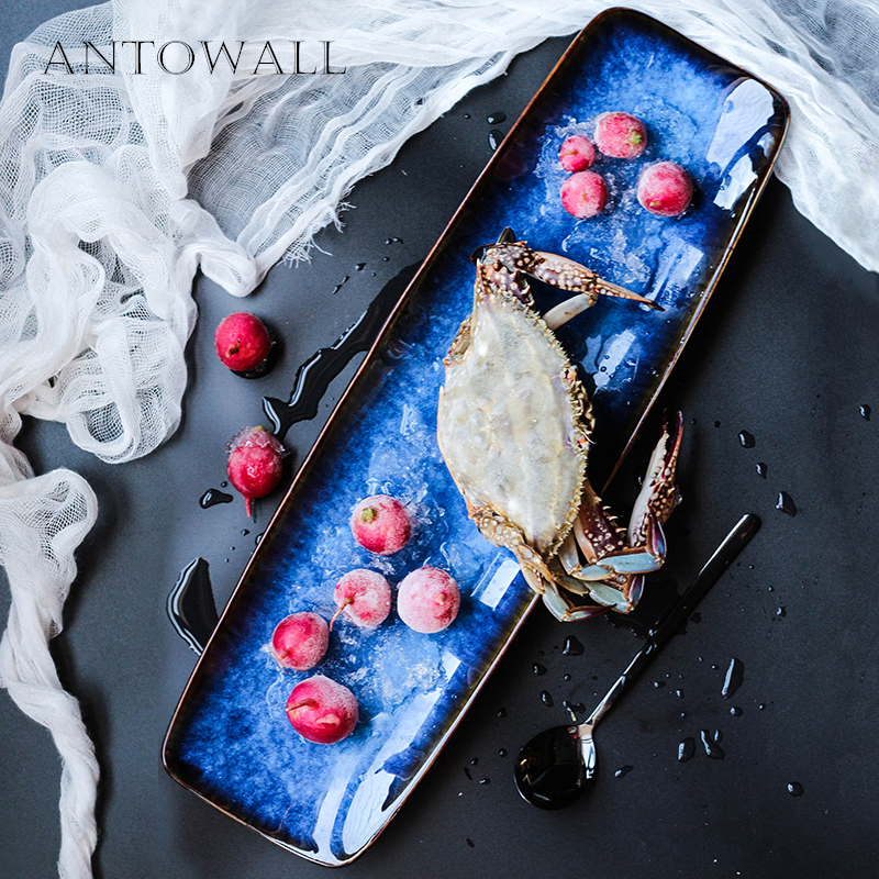 ANTOWALL European Kiln Glaze Ceramic Plate Deep Blue 20inch Long Plate Seafish Fish Dish Hotel Restaurant Dedicated Tableware