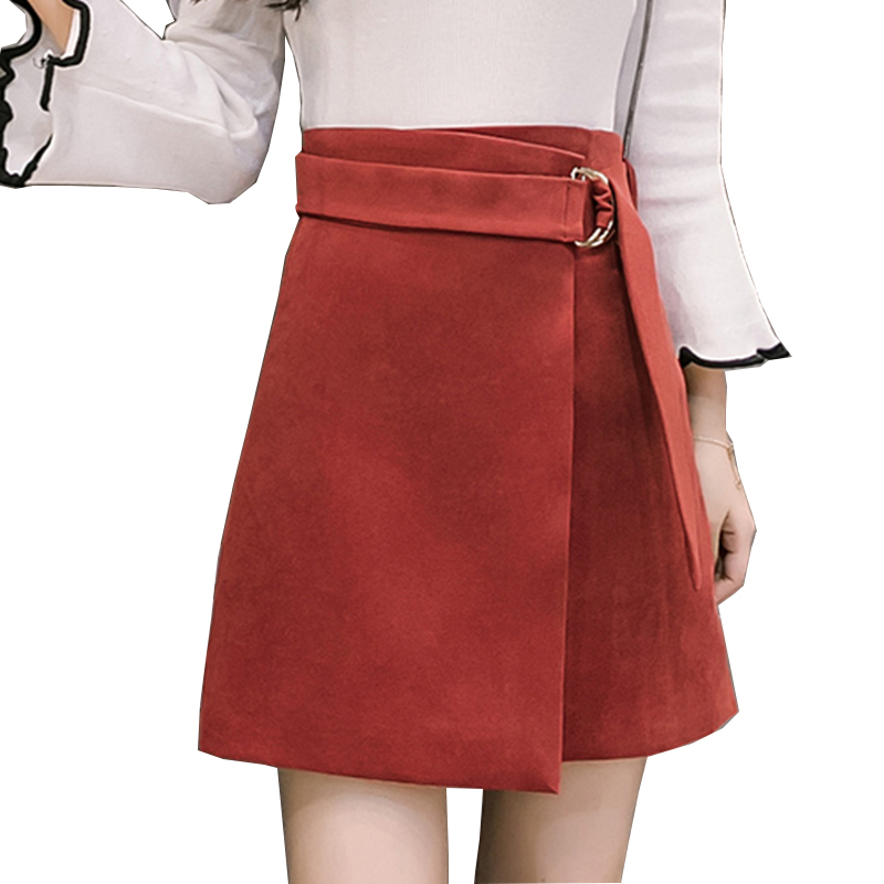 Neophil 2019 Women Winter Suede Mini Skirt Lace-Up Fashion Casual Bodycon High Waist A-Line Black Short Micro Tutu Skirts S1804